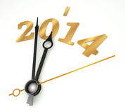 New year 2014 gold clock. On whte background Royalty Free Stock Photos