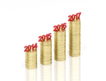 New Year 2017. With Gold Coin - 3D Rendered Image Royalty Free Stock Photo