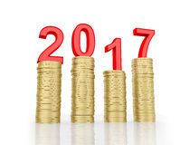 New Year 2017. With Gold Coins - 3D Rendered Image Royalty Free Stock Photo