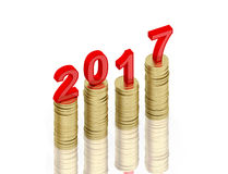 New Year 2017. With Gold Coins - 3D Rendered Image Royalty Free Stock Photos