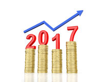 New Year 2017. With Gold Coins - 3D Rendered Image Royalty Free Stock Photography