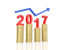 New Year 2017. With Gold Coins - 3D Rendered Image Royalty Free Stock Image