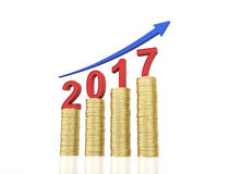 New Year 2017. With Gold Coins - 3D Rendered Image Stock Images