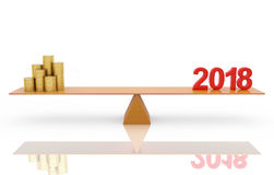 New Year 2018  with Gold Coins Royalty Free Stock Photo