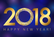 New year 2018 gold colored vector logo. Stock Image