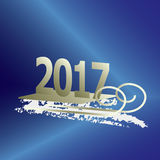 2017 new year gold. New Year comes on a sled Royalty Free Stock Images