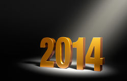 New Year 2014. Gold 2014 on dark stage, brightly illuminated from upper right by angled spotlight Stock Illustration