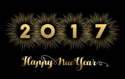 New Year 2017 gold design with fireworks. Happy New Year 2017 gold background with text quote and firework explosion. Luxury holiday greeting card design or Stock Photos