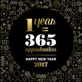 New Year 2017 gold design with happy quote. Happy new year 2017 gold design with motivational text quote for inspiration and line art icons background. EPS10 Stock Photo