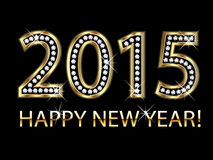 New year 2015 in gold with diamonds. Happy new year 2015 background stock illustration