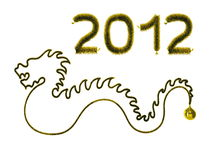 New year. Gold dragon on white background. 3d rendering Stock Photos