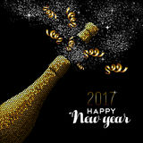 New Year 2017 gold drink bottle card design. Happy new year 2017 gold champagne bottle celebration in mosaic style. Ideal for holiday card or elegant party stock illustration
