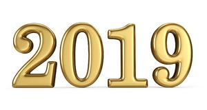 New year 2019 gold figures. 3D rendering Royalty Free Stock Photos