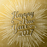 New Year 2017 gold firework explosion design. Happy New Year 2017 gold background with text quote and firework explosion. Luxury holiday greeting card design vector illustration