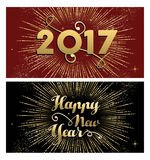 New Year 2017 gold firework greeting card set. Happy New Year 2017, set of gold designs with firework explosion illustration. Ideal for holiday greeting card or Royalty Free Stock Image