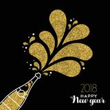New Year 2018 gold glitter champagne party bottle. Happy new year 2018 gold champagne bottle celebration made of golden glitter. Ideal for holiday card or Stock Image