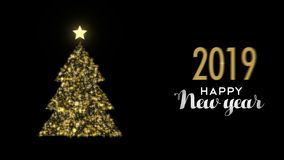 New Year 2019 gold glitter pine tree card template stock video footage