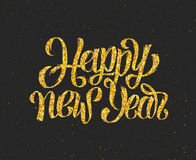 New Year 2016 gold glittering. Hand lettering design template. Golden text with 2016 year greetings on black background. Vector illustration. Winter holidays Stock Image