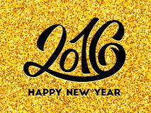New Year 2016 gold glittering. Happy New Year 2016 golden design template. Gold glittering greeting card with black hand lettering inscription 2016. Vector royalty free illustration