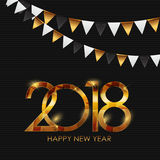 2018 New Year Gold Glossy Background. Vector Illustration Royalty Free Stock Image