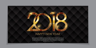 2018 New Year Gold Glossy Background. Vector Illustration Stock Images