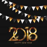 2018 New Year Gold Glossy Background. Vector Illustration Stock Image