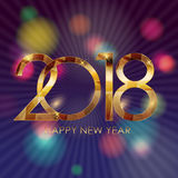 2018 New Year Gold Glossy Background. Vector Illustration Royalty Free Stock Photography