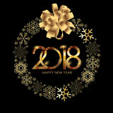 2018 New Year Gold Glossy Background. Vector Illustration Royalty Free Stock Images