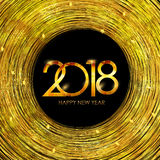 2018 New Year Gold Glossy Background. Vector Illustration Royalty Free Stock Photo
