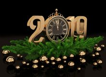 New year gold glossy 3D figures and clock. New year gold glossy 3D figures 2019 with Christmas decorations and clock on a black background royalty free illustration