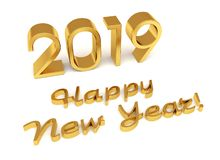 New year gold glossy 3D figures. 2019 with Christmas decorations on a white background vector illustration