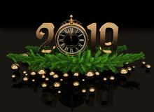 New year gold glossy 3D figures and clock. New year gold glossy 3D figures 2019 with Christmas decorations, clock and tree branches on a black background royalty free illustration