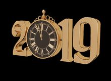 New year gold glossy 3D figures and watches that show 12.00. New year gold glossy 3D figures 2019 with Christmas decorations and clock on a black background vector illustration