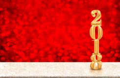 New Year 2018 gold glossy number  3d rendering  on marble tabl. E with red sparkling bokeh lights wall,Holiday celebration concept Royalty Free Stock Image