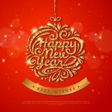 New Year Gold Glowing Poster Template Design Stock Photo