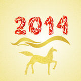 New year gold horse silhouette. 2014 new year horse silhouette merry christmas witn doodle gold texture Stock Photos