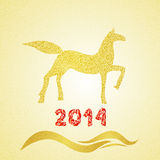 New year gold horse silhouette. 2014 new year horse silhouette merry christmas witn doodle gold texture Stock Photography