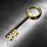 New Year 2018 with Gold Key. 3D Rendering Royalty Free Stock Photo