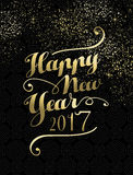 New Year 2017 gold lettering card design. Happy New Year 2017 gold luxury lettering design illustration. Ideal for holiday greeting card or poster. EPS10 vector Royalty Free Stock Images