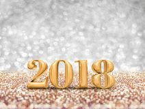 New year 2018 year gold number  3d rendering  at sparkling gol. Den silver glitter studio background ,Holiday Greeting card.Banner mock up for display of design Royalty Free Stock Images