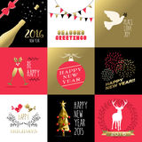 New year 2016 gold red label banner christmas. Happy New Year 2016 set of retro banners and labels with gold, red colors. Includes ornament decoration, holiday vector illustration