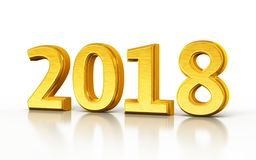 New Year 2018 gold render Royalty Free Stock Photo