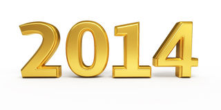 New Year 2014. Gold render ( on white and clipping path Royalty Free Stock Photos