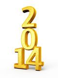 New Year 2014. Gold render ( on white and clipping path stock illustration