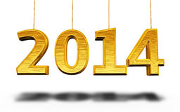 New Year 2014. Gold render ( on white and clipping path Royalty Free Stock Images