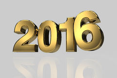 New year 2016 gold three dimension high resulation. Render Royalty Free Stock Images