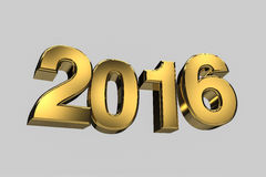 New year 2016 gold three dimension high resulation Royalty Free Stock Photography