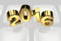 New year 2016 gold three dimension high resulation Stock Photo