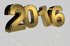 New year 2016 gold three dimension high resulation Royalty Free Stock Photos