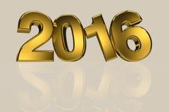New year 2016 gold three dimension high resulation. Render royalty free illustration